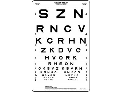 Sloan 10 Foot Translucent Distance Eye Chart